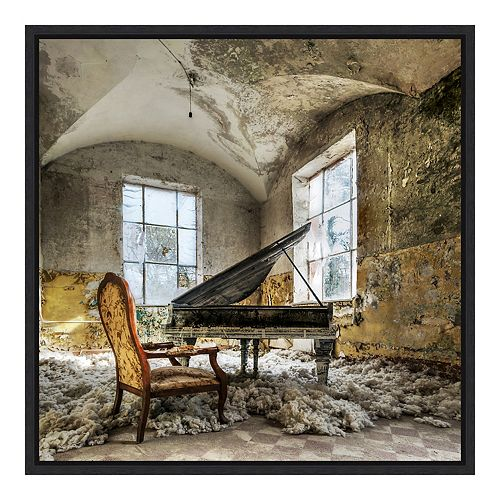 Amanti Art 'In Heaven Piano' by Mario Benz Framed Canvas Art