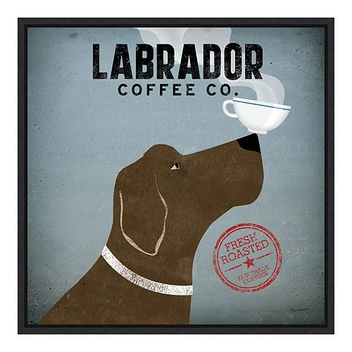 Amanti Art Labrador Coffee Co Framed Canvas Art