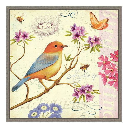 """Amanti Art """"Birds and Bees II"""" Framed Canvas"""
