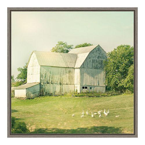 "Amanti Art ""Farm Morning III Square (Barn)"" Framed Canvas"