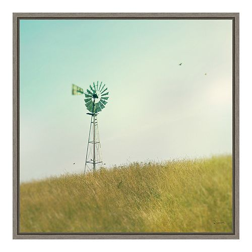 "Amanti Art ""Farm Morning IV Square (Windmill)"" Framed Canvas"