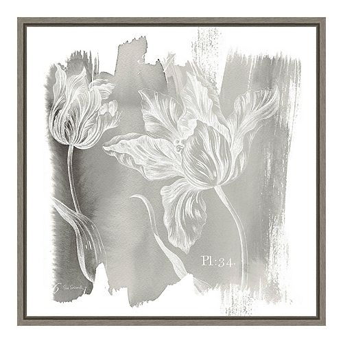 "Amanti Art ""Water Wash I Neutral (Floral)"" Framed Canvas"