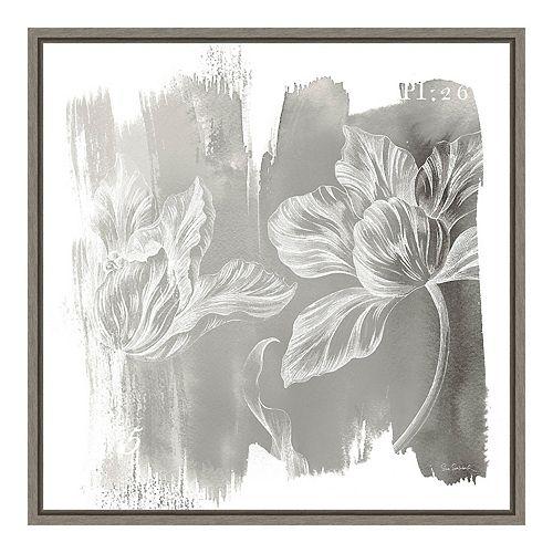 "Amanti Art ""Water Wash II Neutral (Floral)"" Framed Canvas"