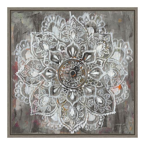 Amanti Art Mandala in Neutral II Canvas Art Framed
