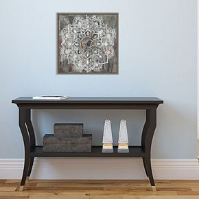 Amanti Art Mandala in Neutral II Canvas Art Framed