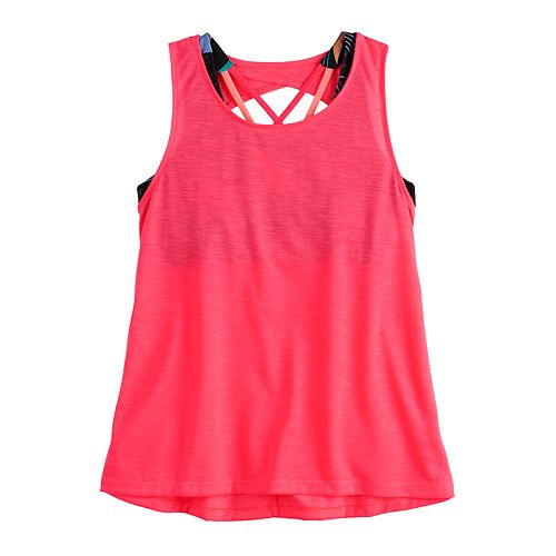 Girls 7-16 SO® Strappy Cutout Layer Tank