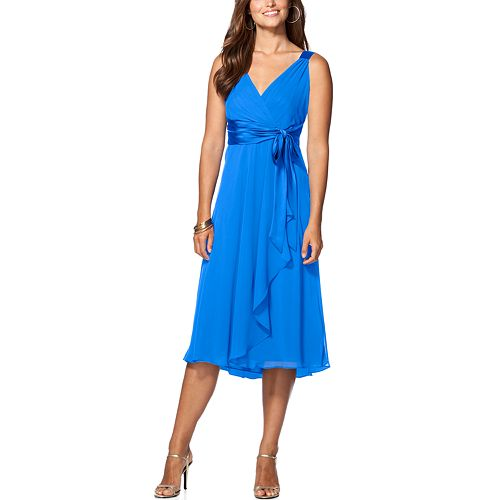 Women's Chaps Surplice Midi Dress