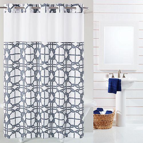 Hookless Nautical Lattice Shower Curtain & Liner