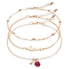 Mudd® Set of 3 Flowers & Pearls Anklets