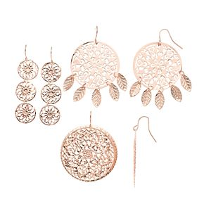 Mudd® Rose Gold Filigree Stamped Earring Set