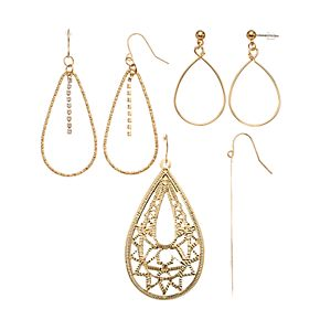 Mudd® Gold Filigree & Hoop Earring Set
