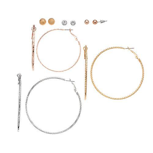 Mudd® Set of 6 Pearl Studs & Hoop Earrings