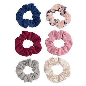 Mudd® Floral And Solid Ponytail Holder 6 Pack