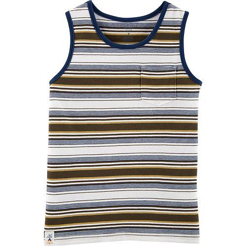 Boys 4-14 Carter's Striped Brown Pocket Tank Top