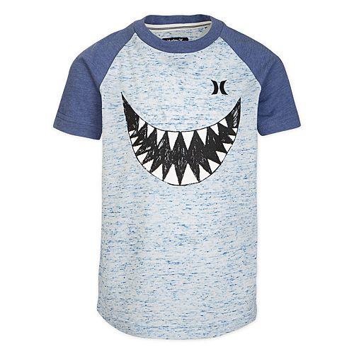Boys 4-7 Hurley Shark Heathered Raglan Graphic Tee