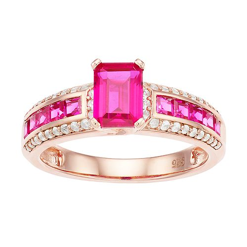 14k Rose Gold Over Silver Lab-Created Ruby & Lab-Created White Sapphire Ring
