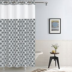 Hookless Prism Shower Curtain Liner White Alloy Coral Black