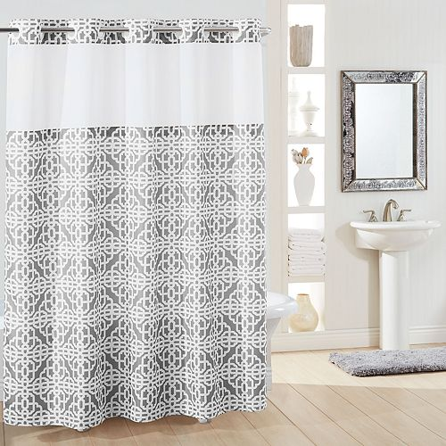 Hookless Branca Plain Weave Shower Curtain & Liner