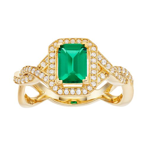 14k Gold Over Silver Lab-Created Emerald & Lab-Created White Sapphire Twist Ring
