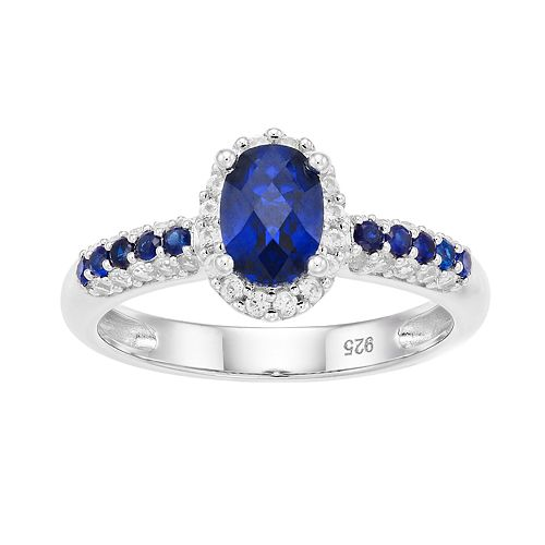 Sterling Silver Lab-Created Blue & White Oval Halo Ring