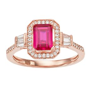 14k Rose Gold Over Silver Lab-Created Ruby & White Sapphire Square Halo Ring