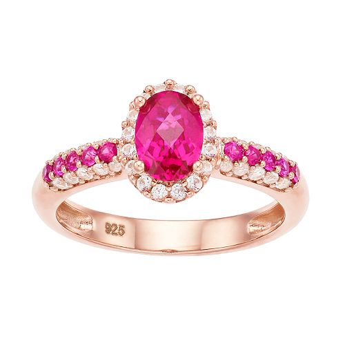 14k Rose Gold Over Silver Lab-Created Ruby & Lab-Created White Sapphire Oval Halo Ring
