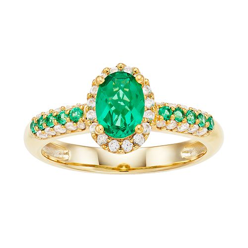 14k Gold Over Silver Lab-Created Emerald & Lab-Created White Sapphire Oval Halo Ring