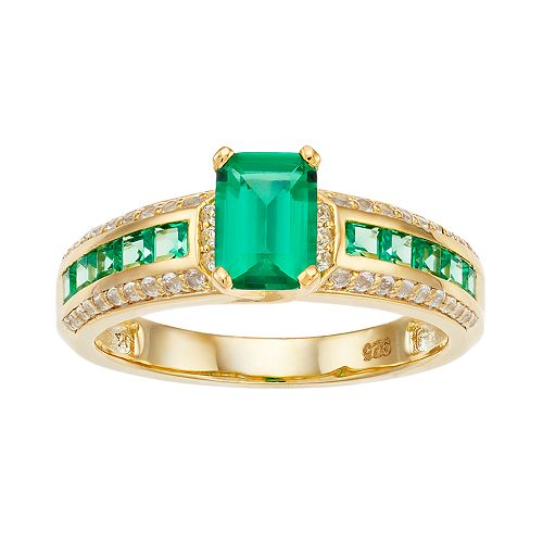 14k Gold Over Silver Lab-Created Emerald & Lab-Created White Sapphire Ring