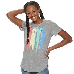 Juniors' 'LOVE' Rainbow Wash Graphic Tee