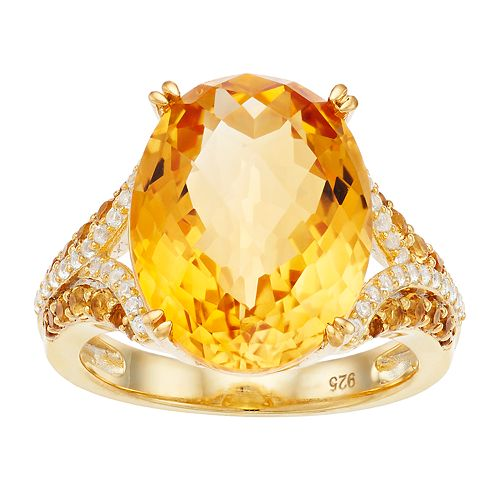 14k Gold Over Silver Citrine & Lab-Created White Sapphire Ring