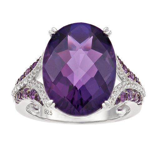 Sterling Silver Amethyst & Lab-Created White Sapphire Ring
