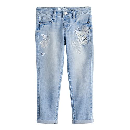 Girls 4-12 SONOMA Goods for Life™ Embroidered Girlfriend Jeans