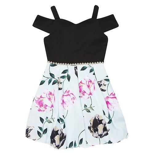 Girls 7-16 Speechless Cold-Shoulder Floral Bubble Dress