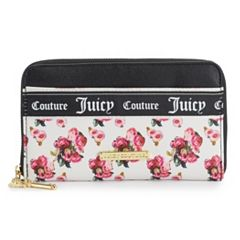 Juicy Couture Varsity Blooms Large Zip-Around Clutch Wallet