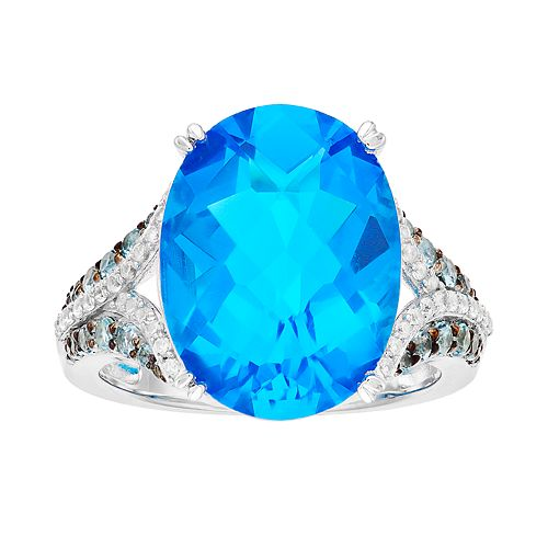 Sterling Silver Swiss Blue Topaz & Lab-Created White Sapphire Ring