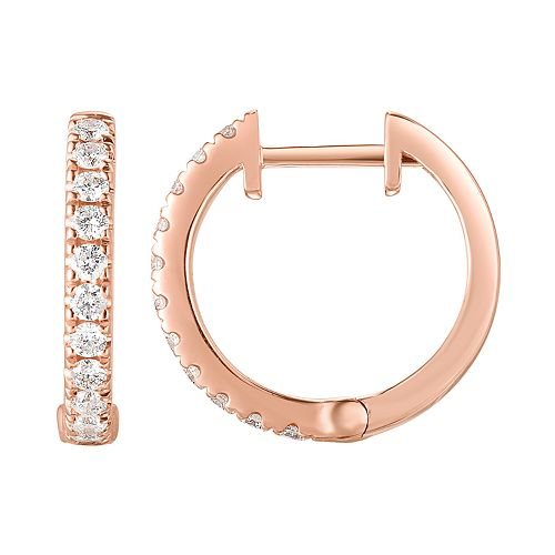 14k Gold 1/2 Carat T.W. Diamond Huggie Hoop Earrings