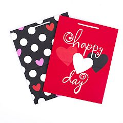 Hallmark Large Valentine's Day Gift Bags (Red Heart & Black Dots, Pack of 2)