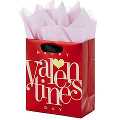 Hallmark Small Valentine's Day Gift Bag with Tissue Paper (Red Happy Valentine's Day, Gold Heart)