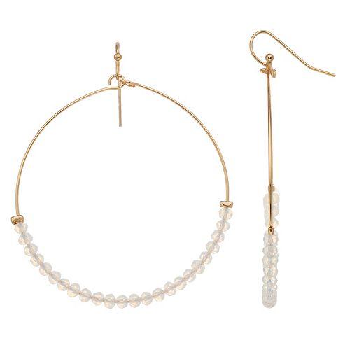 Women's LC Lauren Conrad Glitzy Glass Drop Hoop Earrings