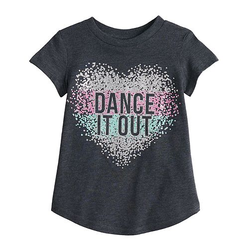 "Toddler Girl Jumping Beans® ""Dance It Out"" Glittery Heart Graphic Tee"