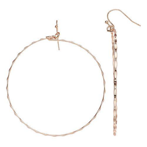 Women's LC Lauren Conrad Scalloped Metal Drop Hoop Earrings