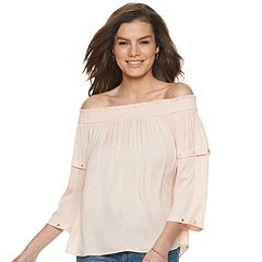 a6a4a069d2c19 Women's Jennifer Lopez Grommet-Trim Off-Shoulder Top