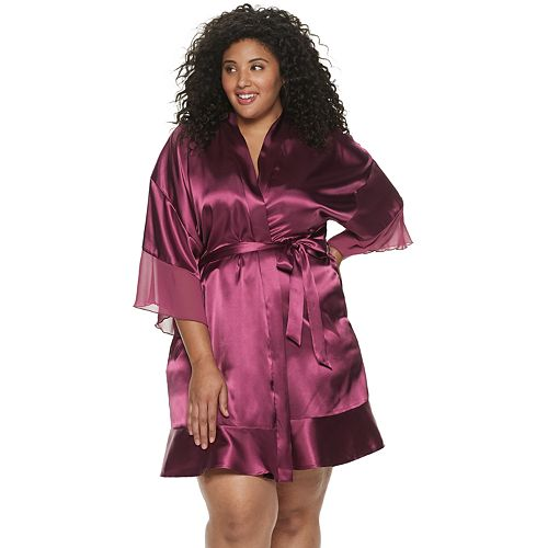 Plus Size Apt. 9® Solid Satin Wrap Robe