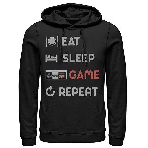 Men's Nintendo Eat Sleep Game Repeat Pullover Hoodie