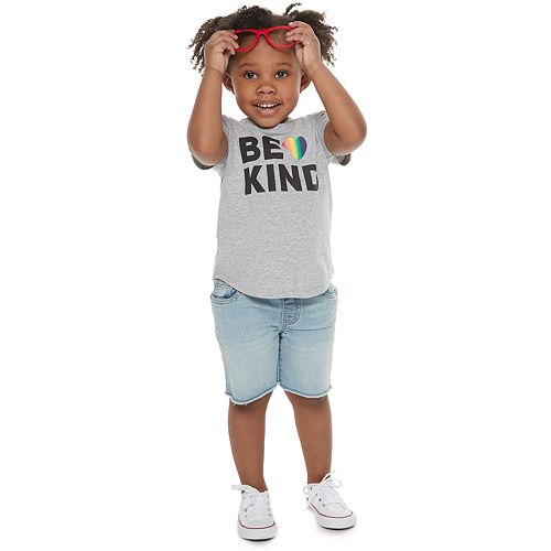"""Todder Girl Family Fun™ """"Be Kind"""" Rainbow Pride Graphic Tee"""