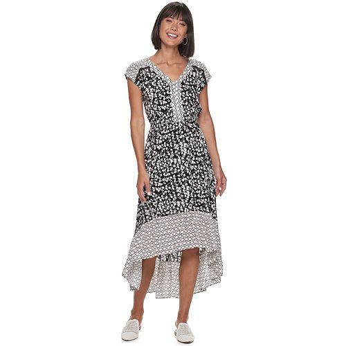 Women S Apt 9 174 V Neck High Low Ruffle Midi Dress