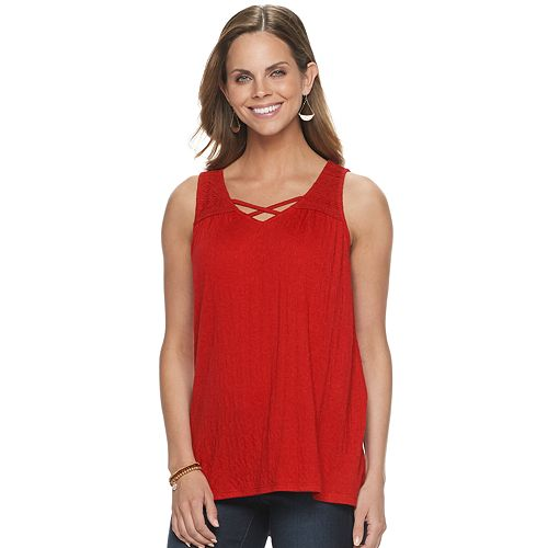 Women's SONOMA Goods For Life™ Lace Yoke Sleeveless Top