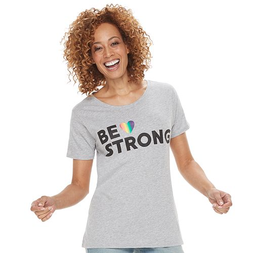 """Women's Family Fun™ """"Be Strong"""" Rainbow Pride Graphic Tee"""