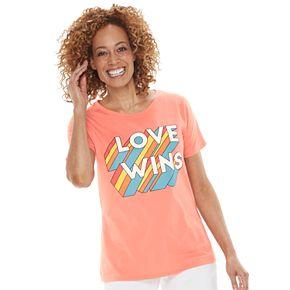"Women's Family Fun? ""Love Wins"" Rainbow Pride Graphic Tee"