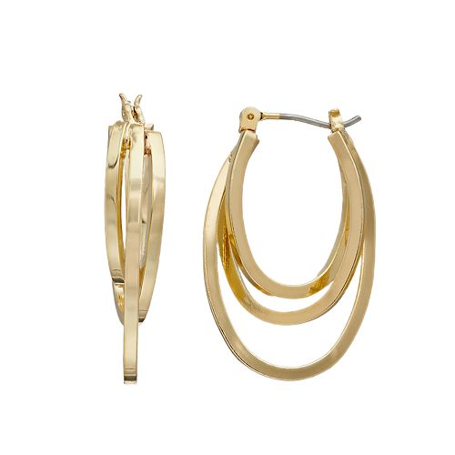 Napier Small Layered Hoop Earrings